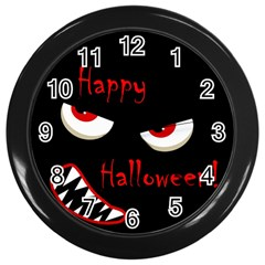 Happy Halloween   Red Eyes Monster Wall Clocks (black) by Valentinaart