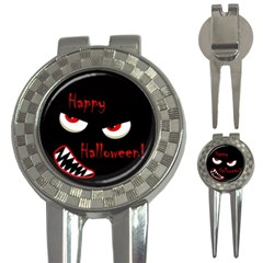 Happy Halloween   Red Eyes Monster 3 In 1 Golf Divots by Valentinaart