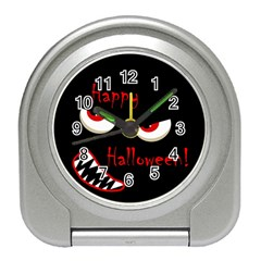 Happy Halloween   Red Eyes Monster Travel Alarm Clocks by Valentinaart