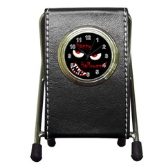 Happy Halloween   Red Eyes Monster Pen Holder Desk Clocks by Valentinaart