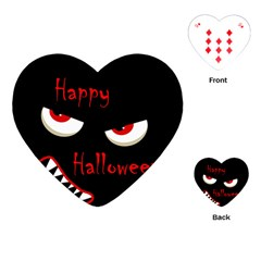 Happy Halloween   Red Eyes Monster Playing Cards (heart)  by Valentinaart