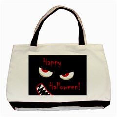 Happy Halloween   Red Eyes Monster Basic Tote Bag by Valentinaart