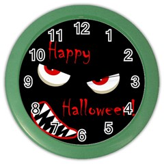 Happy Halloween   Red Eyes Monster Color Wall Clocks by Valentinaart