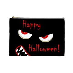 Happy Halloween   Red Eyes Monster Cosmetic Bag (large)  by Valentinaart