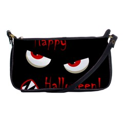 Happy Halloween   Red Eyes Monster Shoulder Clutch Bags by Valentinaart