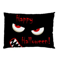 Happy Halloween   Red Eyes Monster Pillow Case (two Sides) by Valentinaart