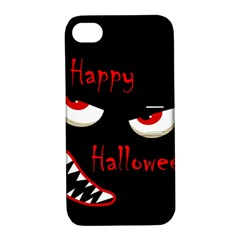 Happy Halloween   Red Eyes Monster Apple Iphone 4/4s Hardshell Case With Stand by Valentinaart