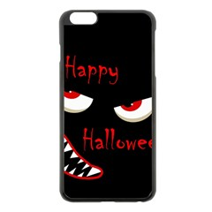 Happy Halloween   Red Eyes Monster Apple Iphone 6 Plus/6s Plus Black Enamel Case by Valentinaart