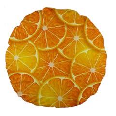 Orange Copy Large 18  Premium Flano Round Cushions by AnjaniArt