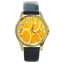 Orange Fruit Round Gold Metal Watch by AnjaniArt