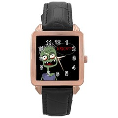 Halloween Zombie Rose Gold Leather Watch  by Valentinaart