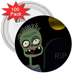 Halloween Zombie On The Cemetery 3  Buttons (100 Pack)  by Valentinaart
