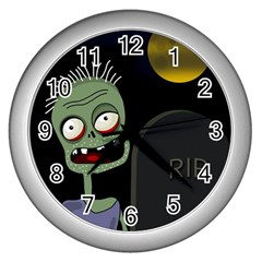 Halloween Zombie On The Cemetery Wall Clocks (silver)  by Valentinaart