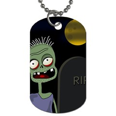 Halloween Zombie On The Cemetery Dog Tag (one Side) by Valentinaart