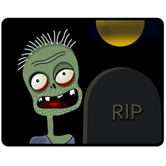 Halloween zombie on the cemetery Fleece Blanket (Medium)