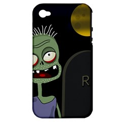 Halloween Zombie On The Cemetery Apple Iphone 4/4s Hardshell Case (pc+silicone) by Valentinaart