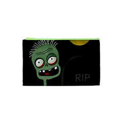 Halloween Zombie On The Cemetery Cosmetic Bag (xs) by Valentinaart
