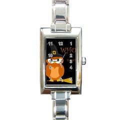 Halloween Witch   Orange Owl Rectangle Italian Charm Watch by Valentinaart