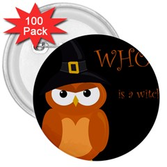 Halloween Witch   Orange Owl 3  Buttons (100 Pack)  by Valentinaart