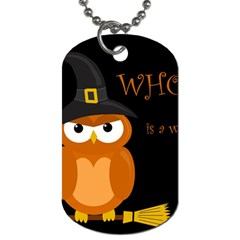 Halloween Witch   Orange Owl Dog Tag (two Sides) by Valentinaart