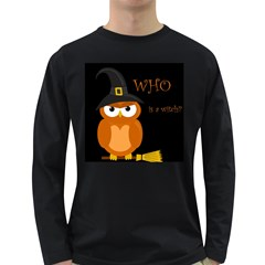 Halloween Witch   Orange Owl Long Sleeve Dark T Shirts by Valentinaart