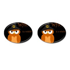 Halloween Witch   Orange Owl Cufflinks (oval) by Valentinaart