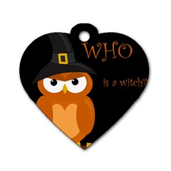 Halloween Witch   Orange Owl Dog Tag Heart (two Sides) by Valentinaart