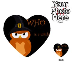 Halloween Witch   Orange Owl Multi Purpose Cards (heart)  by Valentinaart