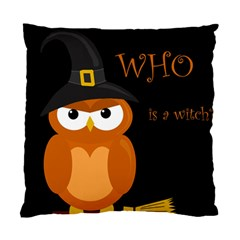 Halloween Witch   Orange Owl Standard Cushion Case (one Side) by Valentinaart