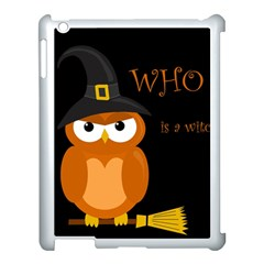 Halloween Witch   Orange Owl Apple Ipad 3/4 Case (white) by Valentinaart
