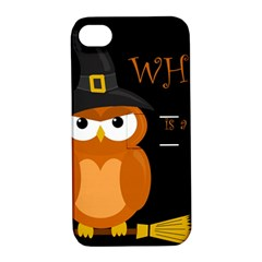 Halloween Witch   Orange Owl Apple Iphone 4/4s Hardshell Case With Stand by Valentinaart