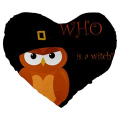 Halloween Witch   Orange Owl Large 19  Premium Flano Heart Shape Cushions by Valentinaart