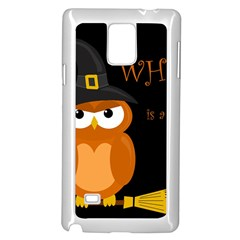Halloween Witch   Orange Owl Samsung Galaxy Note 4 Case (white) by Valentinaart