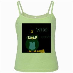 Halloween Witch   Blue Owl Green Spaghetti Tank by Valentinaart