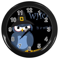 Halloween Witch   Blue Owl Wall Clocks (black) by Valentinaart