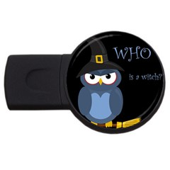 Halloween Witch   Blue Owl Usb Flash Drive Round (2 Gb)  by Valentinaart