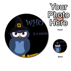 Halloween Witch   Blue Owl Multi Purpose Cards (round)  by Valentinaart