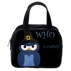 Halloween Witch   Blue Owl Classic Handbags (one Side) by Valentinaart