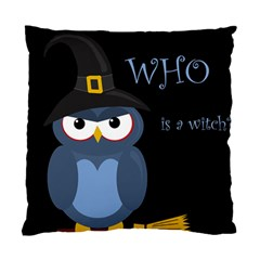 Halloween Witch   Blue Owl Standard Cushion Case (two Sides) by Valentinaart