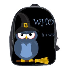Halloween Witch   Blue Owl School Bags(large)  by Valentinaart