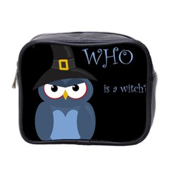 Halloween Witch   Blue Owl Mini Toiletries Bag 2 Side by Valentinaart