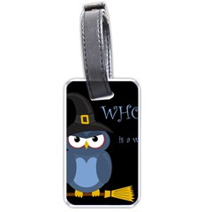 Halloween Witch   Blue Owl Luggage Tags (two Sides) by Valentinaart