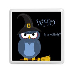 Halloween Witch   Blue Owl Memory Card Reader (square)  by Valentinaart