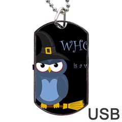Halloween Witch   Blue Owl Dog Tag Usb Flash (one Side) by Valentinaart