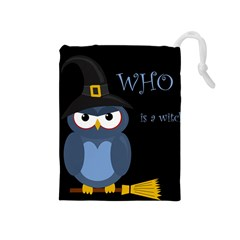 Halloween Witch   Blue Owl Drawstring Pouches (medium)  by Valentinaart