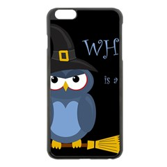 Halloween Witch   Blue Owl Apple Iphone 6 Plus/6s Plus Black Enamel Case by Valentinaart