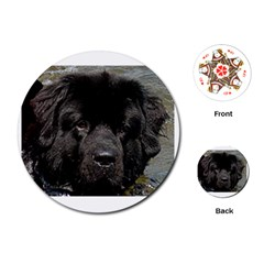Black Newfie Playing Cards (Round)  by TailWags