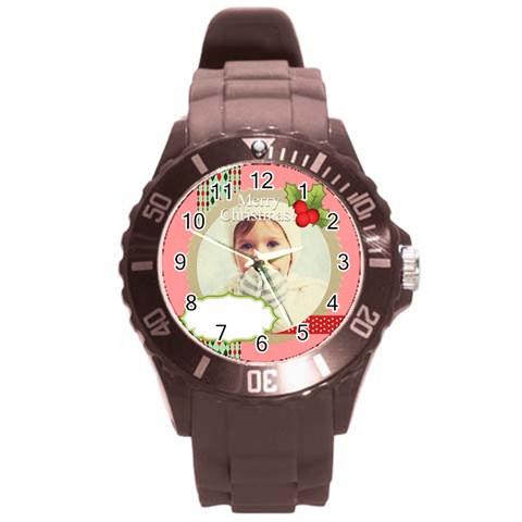 Xmas By 2016   Round Plastic Sport Watch (l)   3dbkk3pzy6iz   Www Artscow Com Front