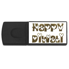 Happy Diwali Greeting Cute Hearts Typography Festival Of Lights Celebration Usb Flash Drive Rectangular (4 Gb)  by yoursparklingshop