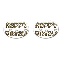 Happy Diwali Greeting Cute Hearts Typography Festival Of Lights Celebration Cufflinks (oval) by yoursparklingshop